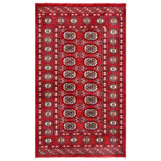 Pakistani Hand-knotted Bokhara Red/ Ivory Wool Rug (3'1 x 5'2)