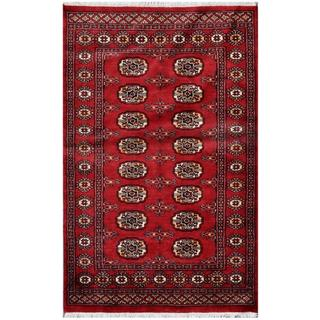 Pakistani Hand-knotted Bokhara Red/ Ivory Wool Rug (3'2 x 4'11)
