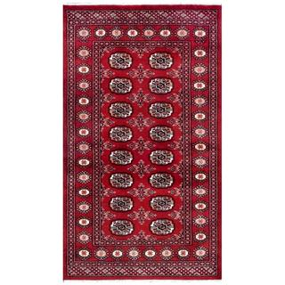 Pakistani Hand-knotted Bokhara Red/ Ivory Wool Rug (3'1 x 5'4)