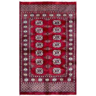 Pakistani Hand-Knotted Bokhara Red/ Ivory Wool Rug (3' x 4'9)