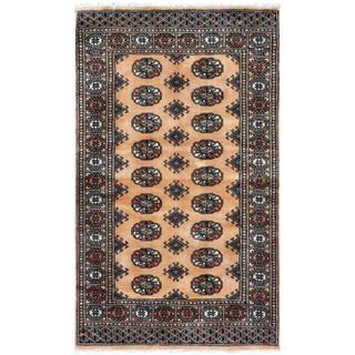 Pakistani Hand-knotted Bokhara Beige/ Black Wool Rug (3'1 x 5')