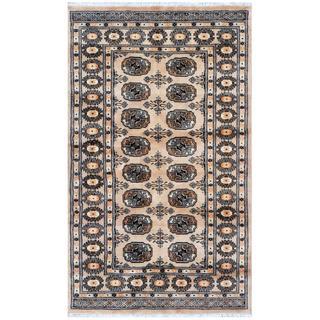 Pakistani Hand-knotted Bokhara Beige/ Black Wool Rug (3' x 5'1)