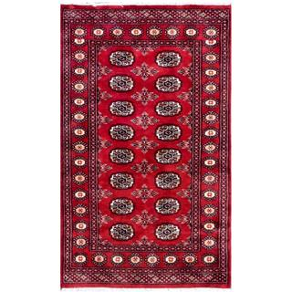 Pakistani Hand-Knotted Bokhara Red/ Ivory Wool Rug (3' x 5')