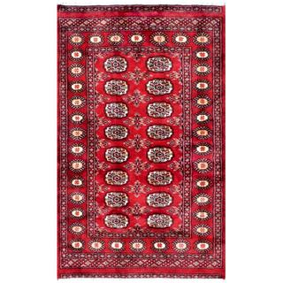 Pakistani Hand-knotted Bokhara Red/ Ivory Wool Rug (3'1 x 4'11)