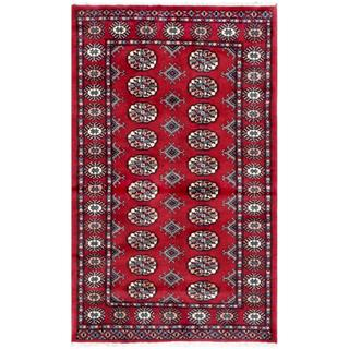 Pakistani Hand-knotted Bokhara Red/ Ivory Wool Rug (3'2 x 5'1)