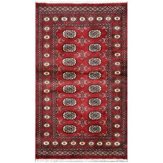Pakistani Hand-knotted Bokhara Red/ Ivory Wool Rug (3' x 5'2)