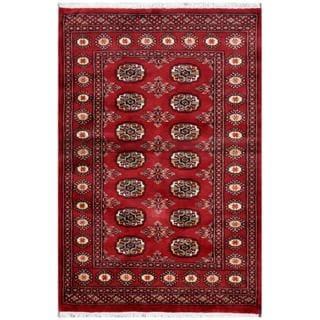 Herat Oriental Pakistani Hand-knotted Bokhara Red/ Ivory Wool Rug (3' x 4'6)