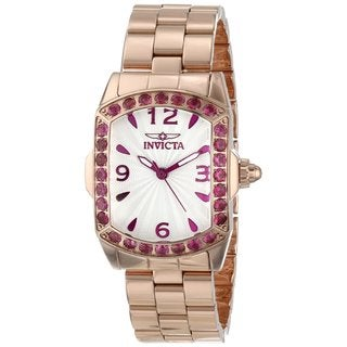 Invicta Women's Slightly Blemished 'Lupah' Rose Goldtone Steel Exotic Gemstone Watch BM-IN14140