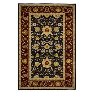 Traditional Oriental Black/ Burgundy Soft Area Rug (5' x 8')