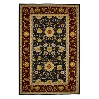 Gallery Traditional Oriental Black/ Burgundy Soft Area Rug (5' x 8')