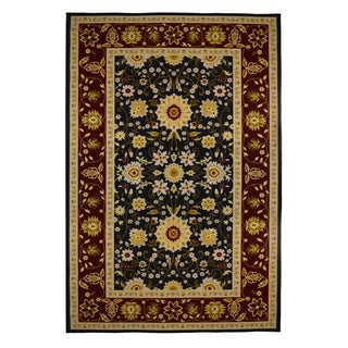 Oriental Black/ Burgundy Soft Area Rug (5' x 8')