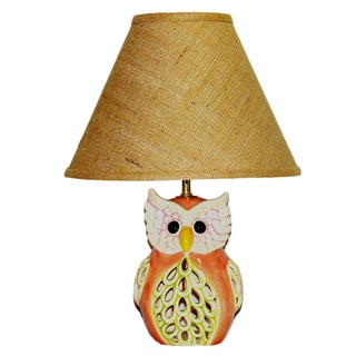 Peach/ Green Owl Lamp with Brown Burlap Shade