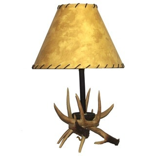 Faux Antler Table Lamp with Faux Leather Shade
