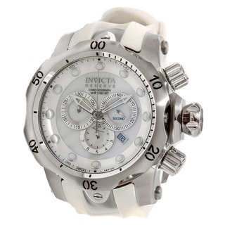 Invicta Men's Slightly Blemished 'Venom' Mother Of Pearl Dial White Rubber Strap Watch
