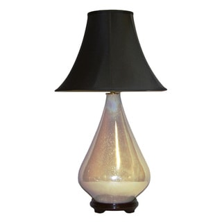 Ivory Pealized Lamp with Black Silk Shade