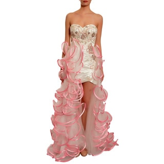 Mac Duggal Women's White/ Pink Ruched Ruffles High-low Beaded Gown