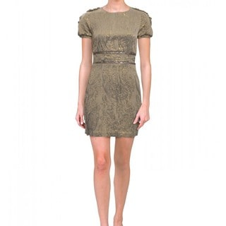 Cynthia Rowley Platinum Silk Jacquard Short Sleeve Cocktail Day Dress