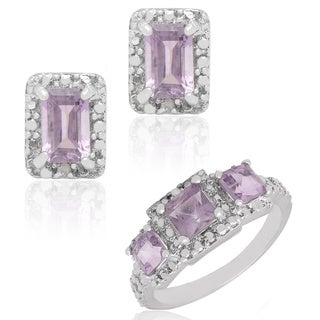Dolce Giavonna Sterling Silver Amethyst and Diamond Accent Three-stone Ring with Bonus Pair of Stud Earrings