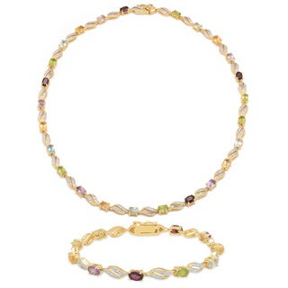 Dolce Giavonna Gold Overlay Multi-gemstone/ Diamond Accent Swirl Necklace with Bonus Bracelet