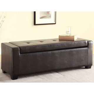 Furniture of America Dimitz Dark Espresso Storage Ottoman Bench