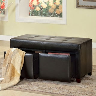 Furniture of America Wavery Dark Espresso Tufted Storage Bench Ottoman