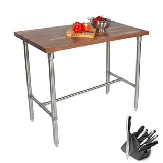 John Boos WAL-CUCKNB430-40 Cherry Cucina Americana Classico 48x30x40 Table with Henckels 13 Piece Knife Block Set
