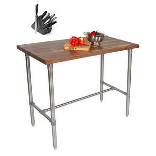 John Boos WAL-CUCKNB424-40 Walnut Cucina Americana Classico 48x24x40 Table with Henckels 13 Piece Knife Block Set