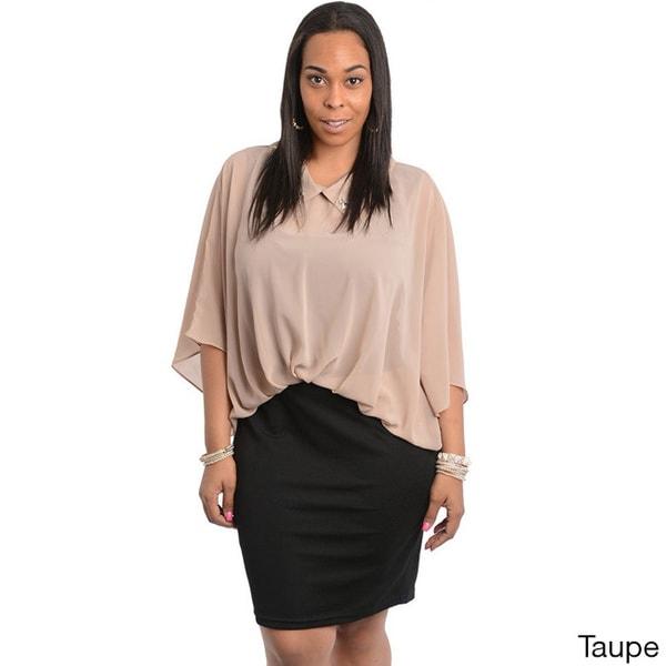 Stanzino Women's Plus Size Stretch Chiffon Casual Dress