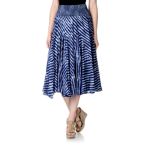 Chelsea & Theodore Womens Blue Tie Dye Mid-length Skirt