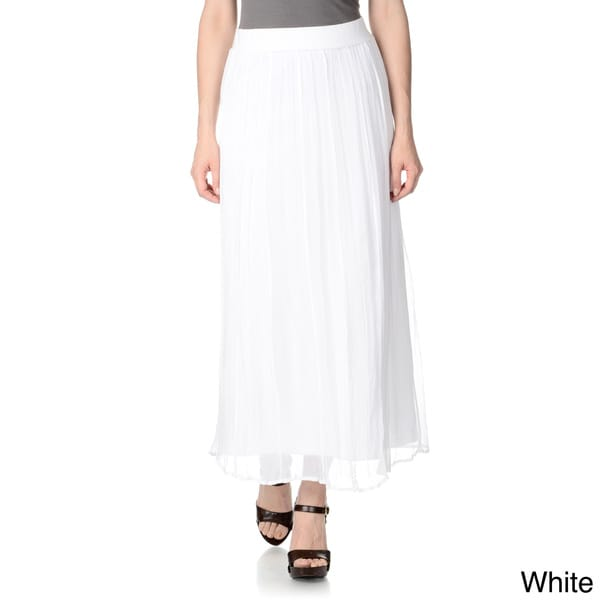 Chelsea & Theodore Women's Crystal Pleated Maxi Skirt