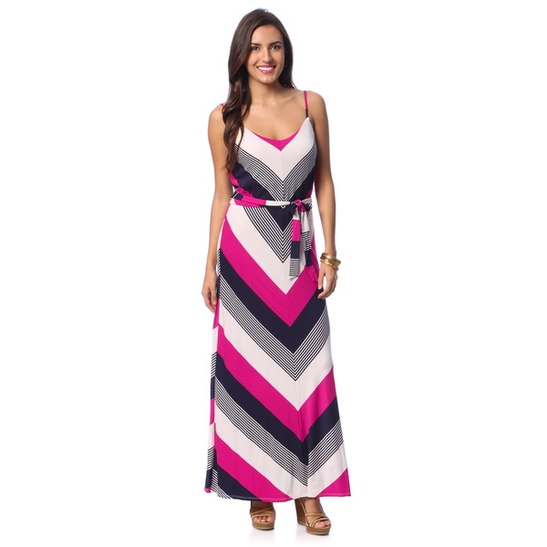 Chelsea & Theodore Women's Chevron Print Belted Maxi Dress