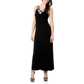 Chelsea & Theodore Women's Black Beaded Neckline Maxi Dress