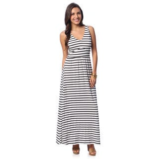 Chelsea & Theodore Women's Black and White Striped Maxi Dress