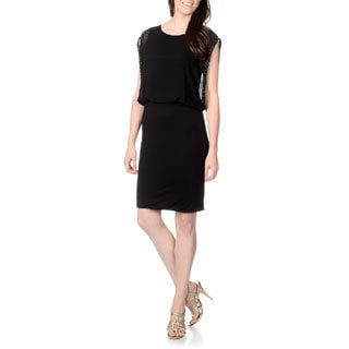 Chelsea & Theodore Women's Solid Black Blouson Dress