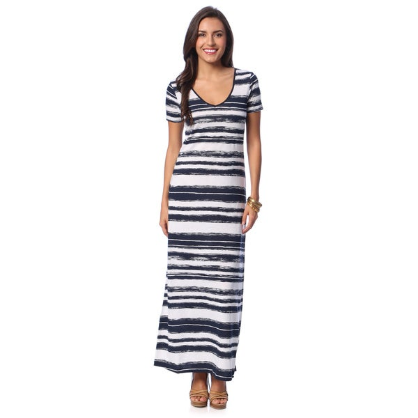 Chelsea & Theodore Women's Striped Short-sleeve Maxi Dress