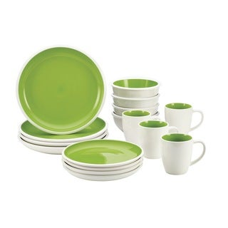 Rachael Ray Rise Green 16-piece Stoneware Dinnerware Set