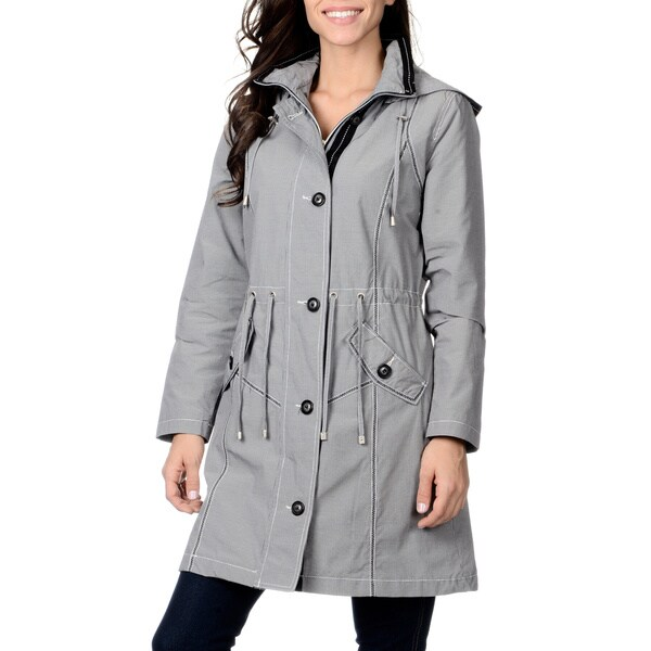Nuage Women's Black/ White Microcheck Needle Point Coat