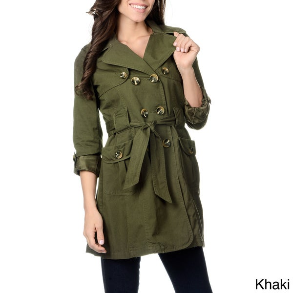 Nuage Women's 'Nepal' Double-breasted Short Trench Coat