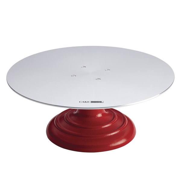 Cake Boss Decorating Tools Red Aluminum Turntable and Cake Stand