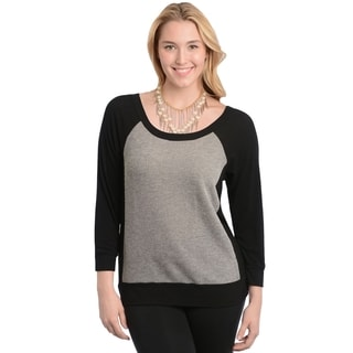 Stanzino Women's Plus Size Black and Grey Basebell Shirt