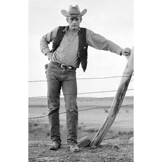 James Dean Standing at Fence on Set of 'Giant' 1955 Frank Worth Lithograph