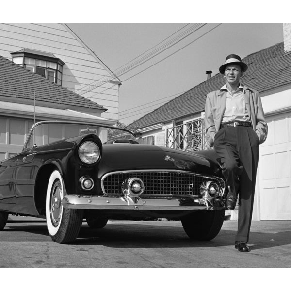 Frank Sinatra Standing Next to T-bird 1955 Frank Worth Lithograph