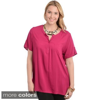 Stanzino Women's Plus Size Mandarin Collar Casual Top