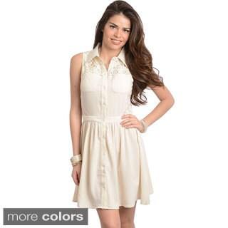 Stanzino Women's Sleeveless Chiffon Shirt Dress