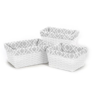 Sweet Jojo Designs Grey and White Diamond Basket Liners (Set of 3)