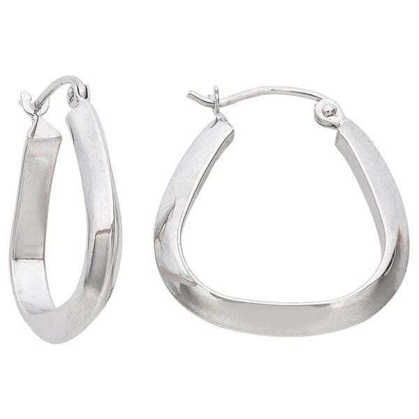 Gioelli 14k White Gold Pear-shape Hoop Earrings