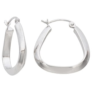 Gioelli Gioelli 14k White Gold Pear-shape Hoop Earrings