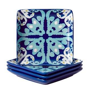 Rachael Ray Dinnerware Blue Ikat 4-piece Stoneware Appetizer Plate Set