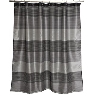 Alys Grey Stripe Woven Shower Curtain