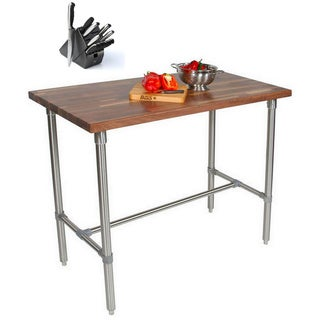 John Boos WAL-CUCKNB424 Walnut Cucina Americana Classico 36x24x48 Table with Henckels 13 Piece Knife Block Set